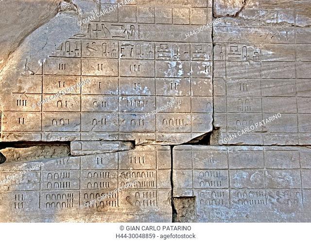 Karnak, Luxor, Egypt. Temple of Karnak sacred to god Amon: numbers on a wall