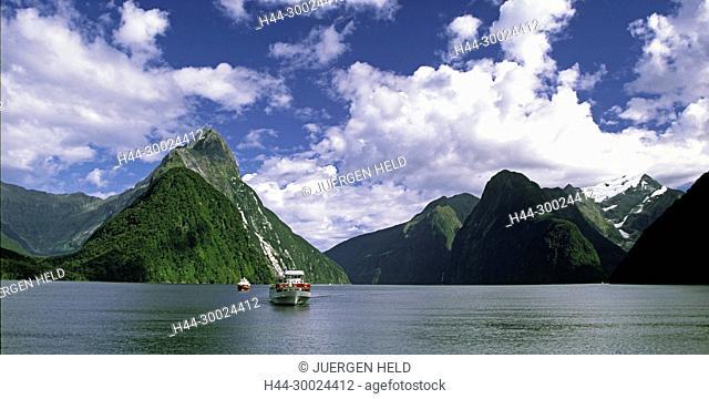 Neuseeland, Milford Sounds , Mitre peak Fjord Panorama