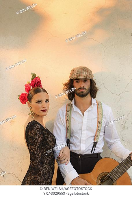 Spanish couple dressed in flamenco style. Facinas, Tarifa, Cadiz, Andalusia, Southern Spain