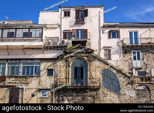 Houses in La Cala area of Port of Palermo city of Southern Italy, the capital of autonomous region of Sicily