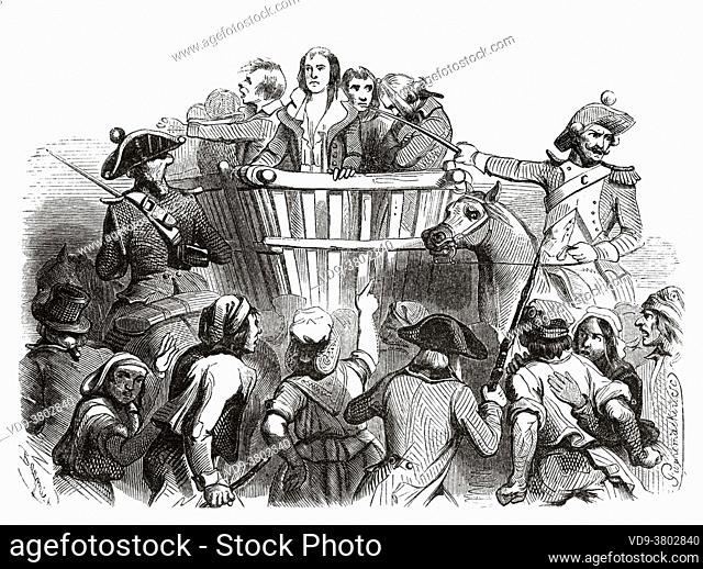 Robespierre and his accomplices being led to their execution, 1794. France, French Revolution 18th century. Old engraved illustration from Histoire de la...