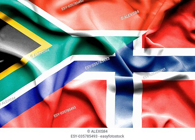 Waving flag of Norway and South Africa