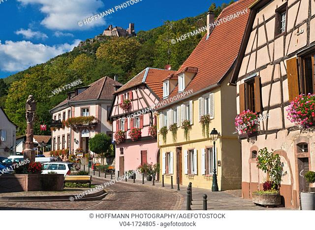 The picturesque village of Ribeauvillé with the castle Saint Ulrich in the background, Alsace, France, Europe