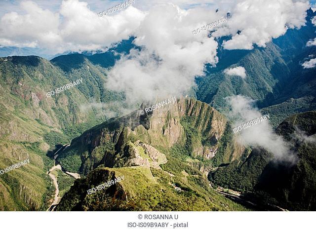 Elevated view of cloudy mountains, Machu Picchu, Cusco, Peru, South America