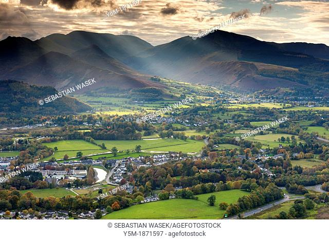 View from Latrigg summit over Valley of Borrowdale towards Grisedale Pike, Lake District National Park, Cumbria, England, UK, Europe