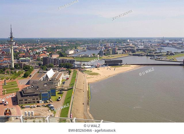 view from the Atlantic Hotel Sail City at the fishing port and the television tower, Germany, Freie Hansestadt Bremen, Bremerhaven