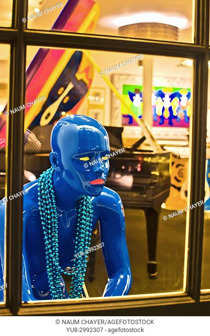 Mannequin in showcase,French Quarter,New Orleans showcases, state of Louisiana, USA, North America,