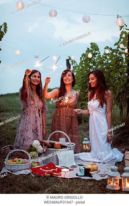 Friends having a picnic in a vinyard, burning sparklers
