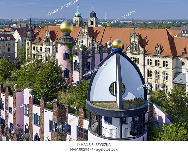 View from the Green Citadel to the Old Post Office and Cathedral of Saint Sebastian, Magdeburg, Saxony-Anhalt, Germany