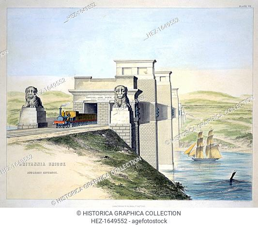 'Britannia Bridge, Anglesey Entrance', Wales, 1849. The Britannia Tubular Bridge was designed by Robert Stephenson and was completed in 1850