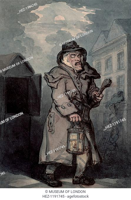 Night watchman, (late 18th century?). A scruffy-looking man yawns as he patrols the streets with a lantern and cudgel. In the background two burglars are...