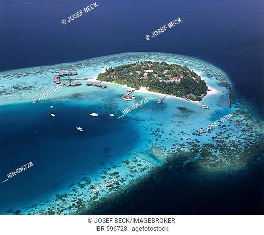 Aerial view of Baros, Holiday Island, North Male Atoll, Maldives, Indian Ocean