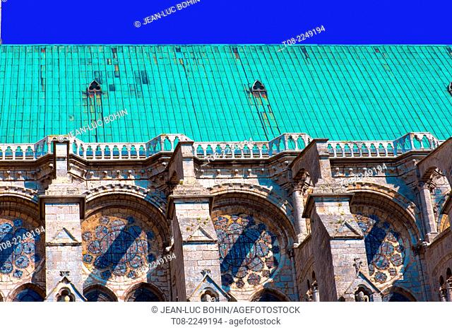 france, beauce,chartres, cathedral : roof