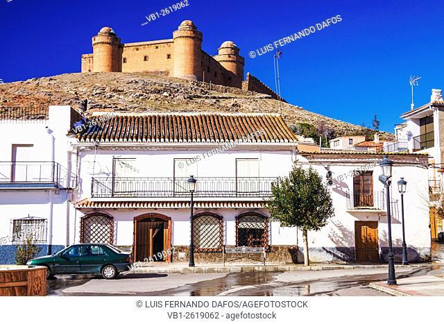 La Calahorra Castle from the village's main square. Granada, Spain