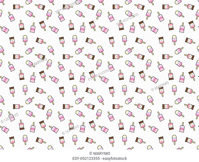 Seamless pattern of cute kawaii style ice cream bars. Decorative tiny design elements in doodle Japanese style isolated on white background