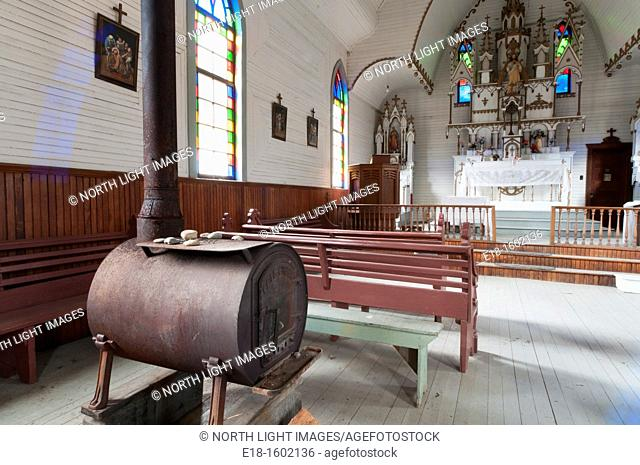 Canada, BC, Skatin. Also known as Skookumchuck. Interior of Native Indian church, Church of the Holy Cross.  Hand crafted, and completed in 1905