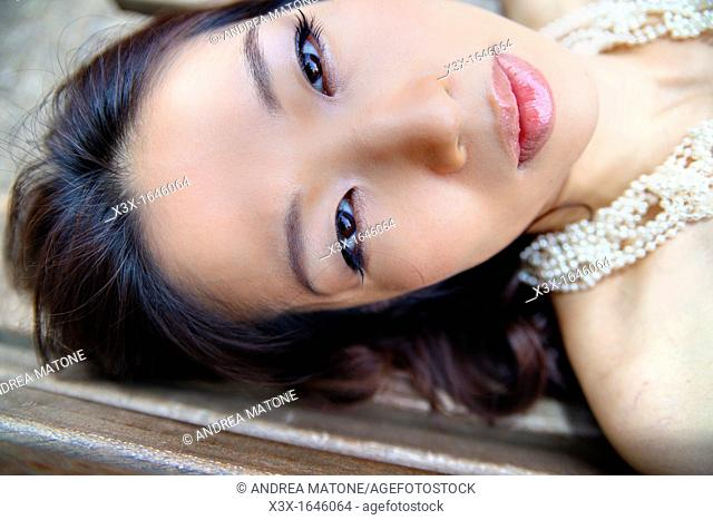 Asian girl face portrait