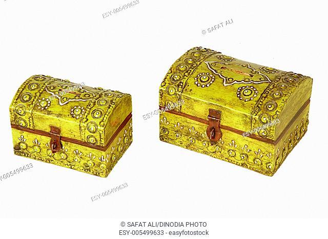 Antique wooden piggy bank box ; Jodhpur ; Rajasthan ; India