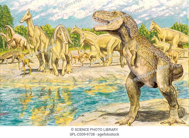 Tarbosaurus bataar dinosaur, artwork. This carnivorous dinosaur lived in the Late Cretaceous period around 70 million years ago