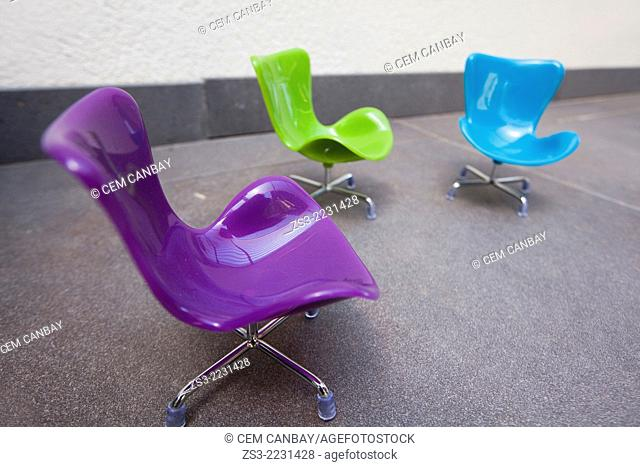 Modern colorful office chairs for sale, Taksim, Istanbul, Marmara province, Turkey, Europe