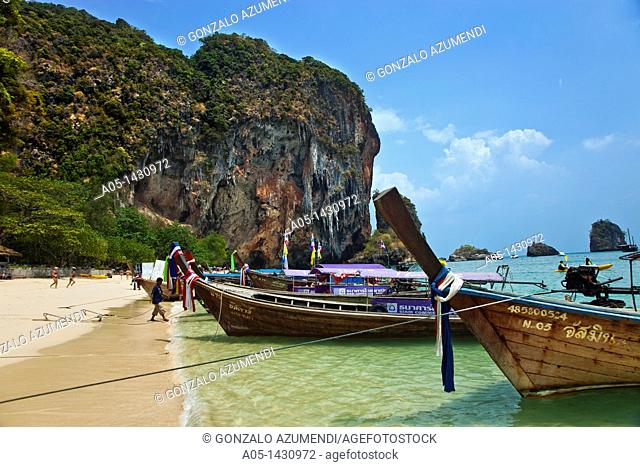 Railay bay, Rai Leh bay, Phra Nang beach cliffs and the Princess Cave , Krabi, Thailand