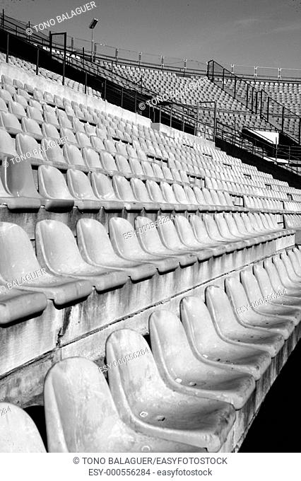 aged seats in football sport stadium field