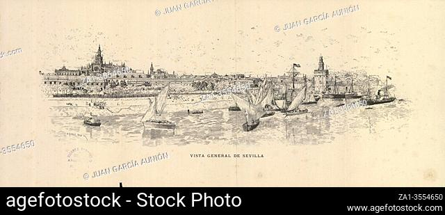 General view of Seville, 1884. Drawing by Antonio Gomez Polo, published by FC Gomez Soler