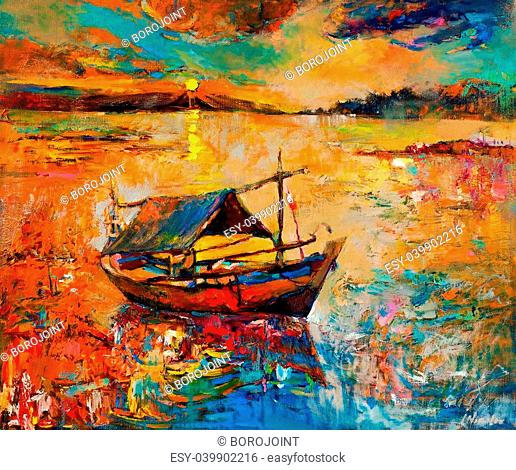 Original oil painting of boat and sea on canvas.Rich Golden Sunset over ocean.Modern Impressionism