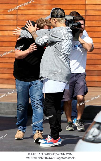 Justin Bieber and James Corden seen filming as they leave Maxfields James's Show Featuring: Justin Bieber, James Corden Where: Los Angeles, California