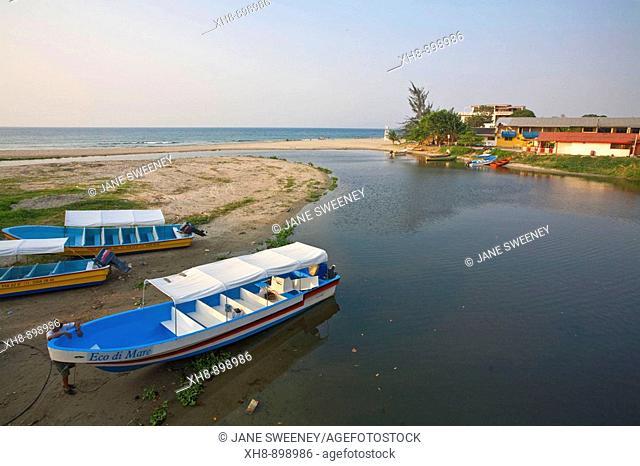 Boats under palm trees, Tela, Honduras