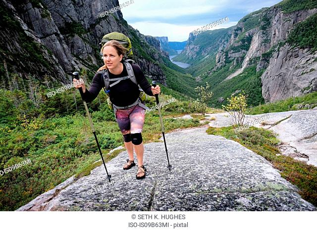 Mid adult woman hiking up rocky valley, Gros Morne National Park, Newfoundland, Canada