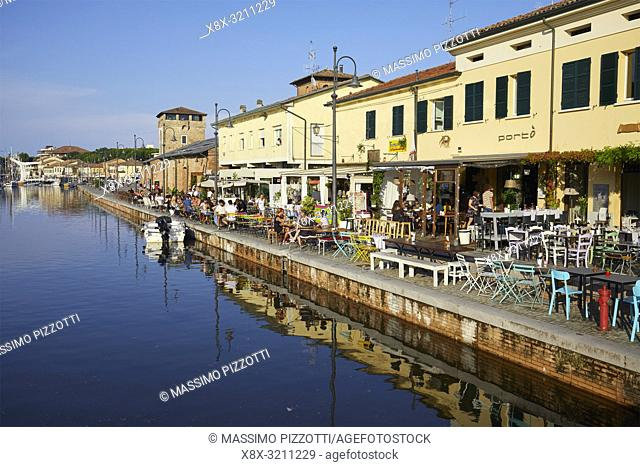 Buildings along the Canal of Cervia, Italy
