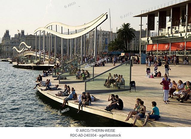 Rambla de Mar footbridge, harbour Port Vell, Barcelona, Catalonia, Spain