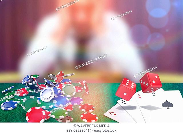 Composite image of composite 3d image of red dice