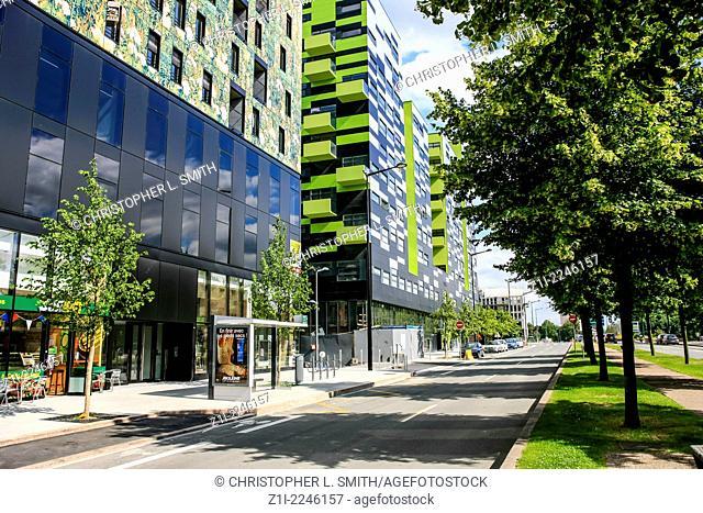 Modern buildings along the Bvd President Hoover in Lille France