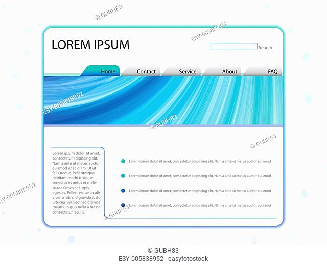 White Website Layout Template in Blue
