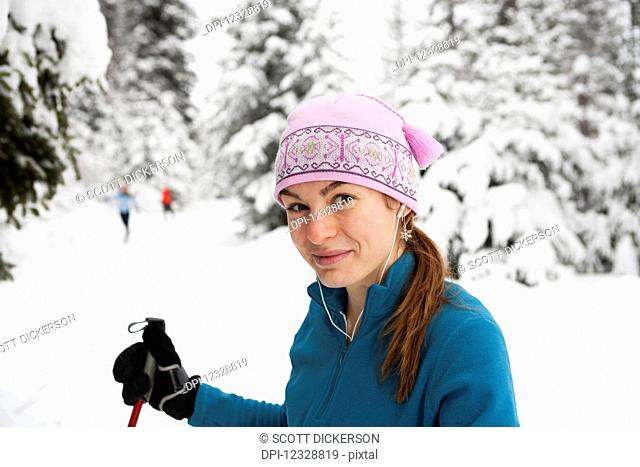 A Young Woman Cross Country Skiing, Ohlson Mountain; Alaska, United States Of Americanone