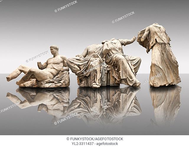 Figures from the East Pediment of the Parthenon, Acropolis Athens. From left to right cat no D Dionysos ,middle E & F Demeter & Persephone, left G Hebe