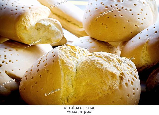 home made bread, farm bread. Piled