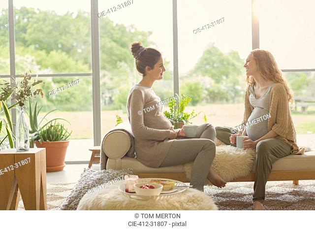 Pregnant women drinking tea and talking in living room