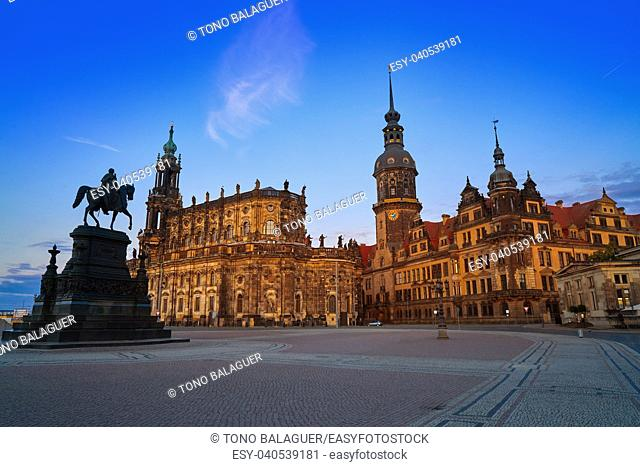 Dresden sunset at Theaterplatz in Saxony of Germany