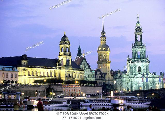 Cathedral & Castle, Elbe River, Dresden, Saxony, Germany
