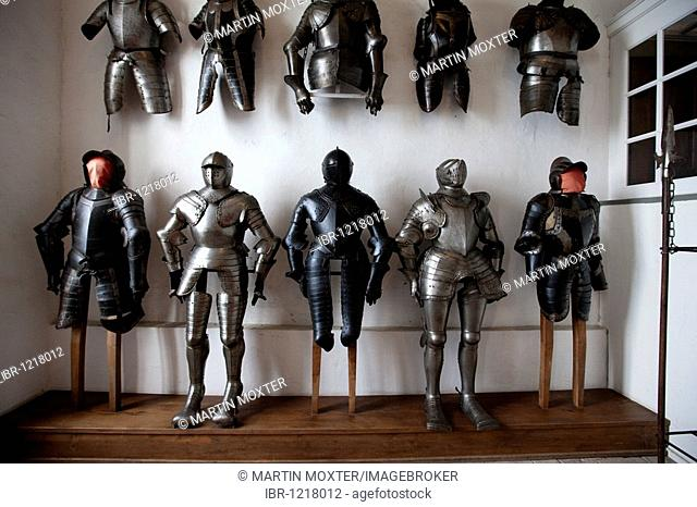 Knights' armors, Altes Schloss old castle, Meersburg castle, Meersburg on Lake Constance, administrative district of Tuebingen, Bodenseekreis district