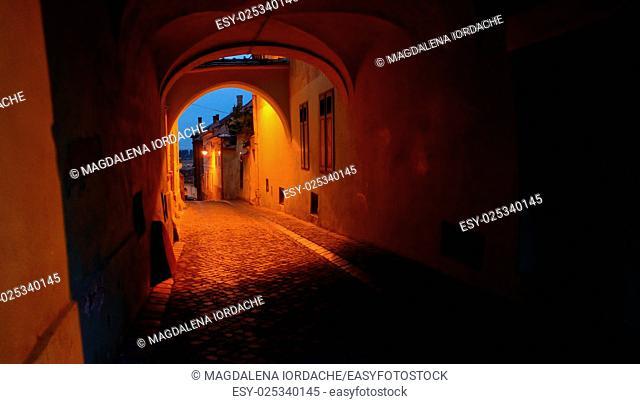Old street of residential buildings in Sibiu city Romania