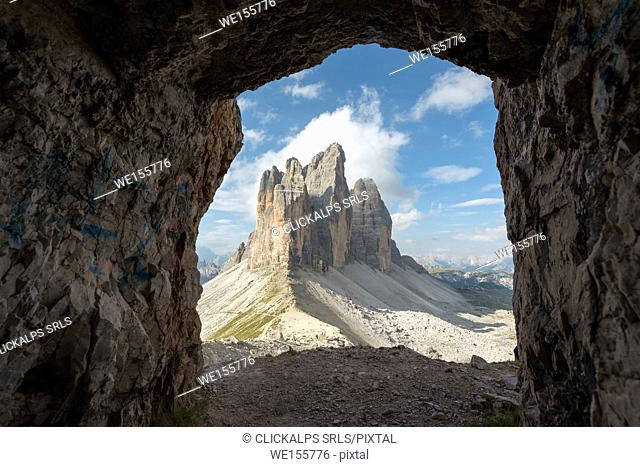 Europe, Italy, Dolomites, Veneto, Belluno. Tre Cime di Lavaredo seen from Trenches of the First World War on Mount Paterno