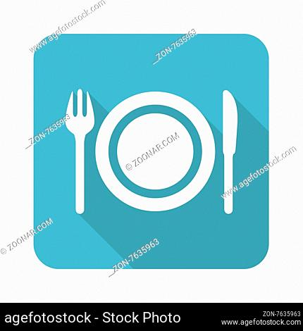 Square icon with image of plate, fork and knife, isolated on white