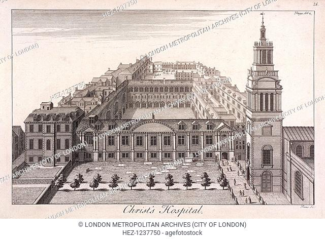 Bird's-eye view of Christ's Hospital, London, c1740