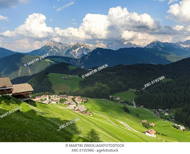 Village Antermoia in the Dolomites of South Tyrol, Alto Adige, view towards Val Badia. Europe, Central Europe, Italy