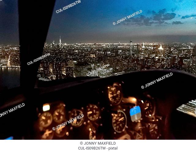 Aerial view from helicopter of Empire State Building, New York, USA