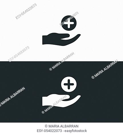 Hand with pharmacy cross. Flat icon. Isolated medicine vector illustration